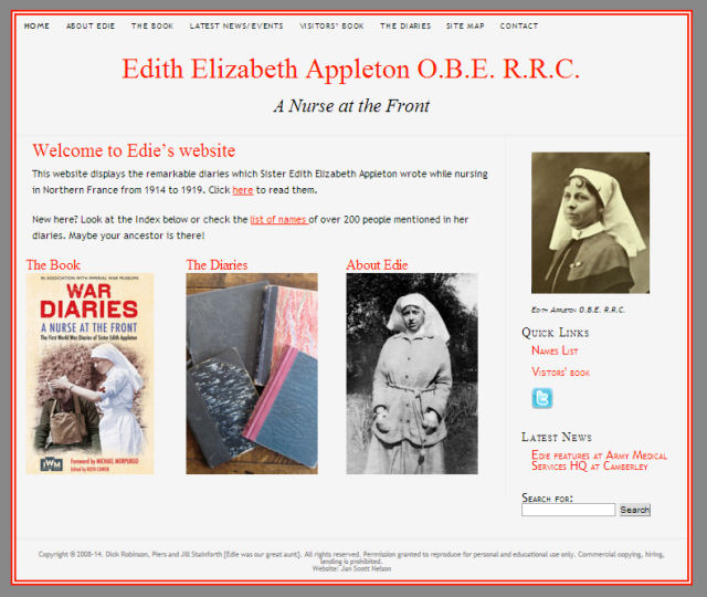 Homepage of Edie's new website